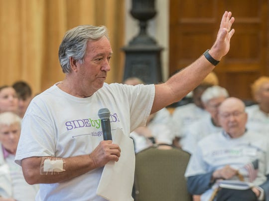 Hack Horner, former director of music at First United Methodist Church, leads the singing for the Side by Side choir. The second annual Side by Side Patriotic Performance was held Tuesday, June 26, 2018, at First United Methodist Church in Montgomery, Ala. The Side by Side Choir is made up of people in the community who live with memory loss, as well as their caregivers.