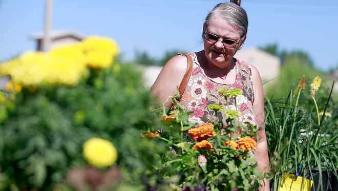 Joyce Doggett of Aztec explores the Farmington Growers Market on Saturday at the Farmington Museum at Gateway Park.