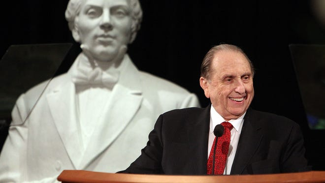 President Thomas S. Monson of The Church of Jesus Christ of Latter-day Saints speaks at a gala which was part of the 100th birthday celebration of the Joseph Smith Memorial Building, Friday, June 10, 2011.