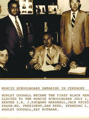 Hurley Goodall (standing at left) was sworn in as the