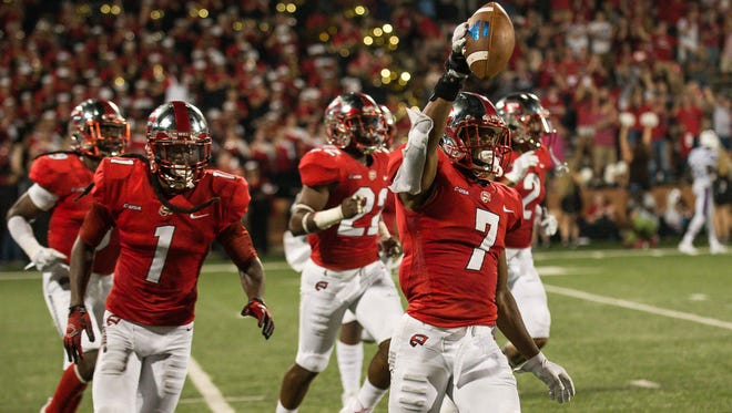 Western Kentucky defensive back Joe Brown (7) celebrates after an interception against Louisiana Tech on Sept. 16 at Houchens Industries-L.T. Smith Stadium in Bowling Green, Kentucky.