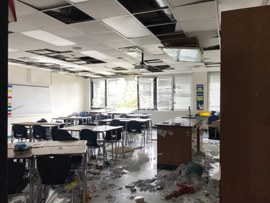 Books and paper are strewn about a classroom at Lehigh