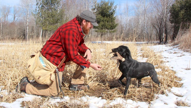 Jeremy Moore of Pulaski reaches for a shed deer antler brought to him by Ellie, his 2-year-old Labrador retriever,