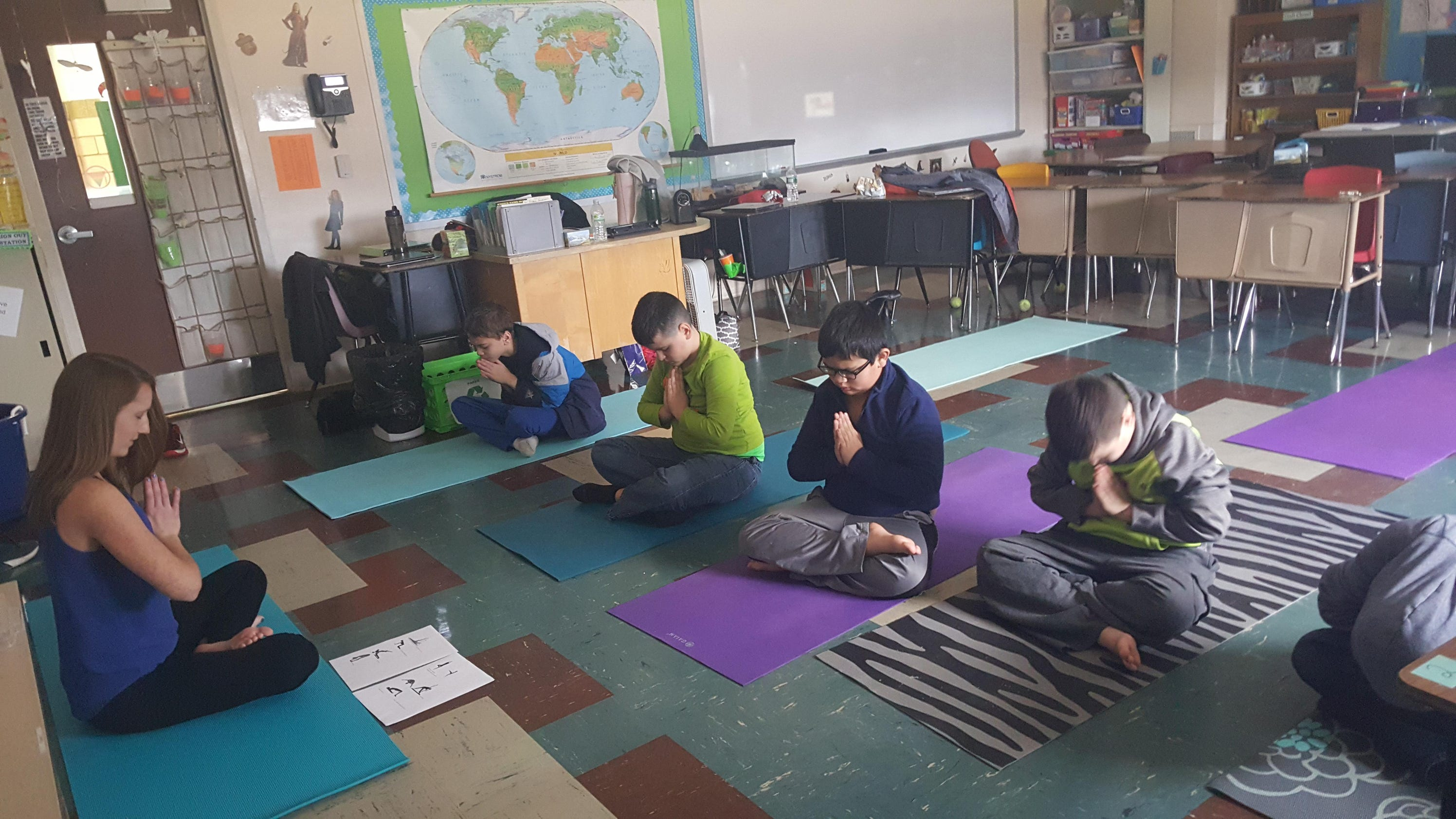 Modular Classroom Yoga ~ Yoga helping students focus at roxbury school