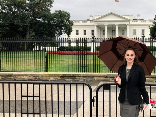 Grace French, 22, of Ann Arbor went to Washington, D.C., on July 24, 2018, to attend a U.S. Senate subcommittee hearing. Interim Michigan State University President John Engler was to testify at the hearing about his leadership following the Larry Nassar scandal. French was among the women and girls molested by Nassar, and now is working on creating a nonprofit organization called The Army of Survivors to help others who have been sexually abused.
