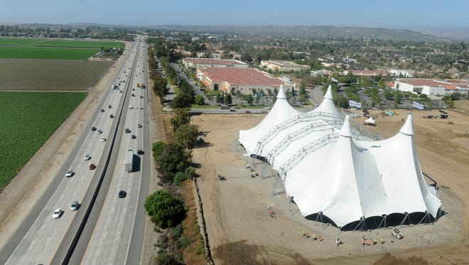 """A 12-story-tall tent was erected near Highway 101 and Santa Rosa Road in Camarillo in preparation for the Ventura County debut of """"Odysseo"""" by Cavalia."""