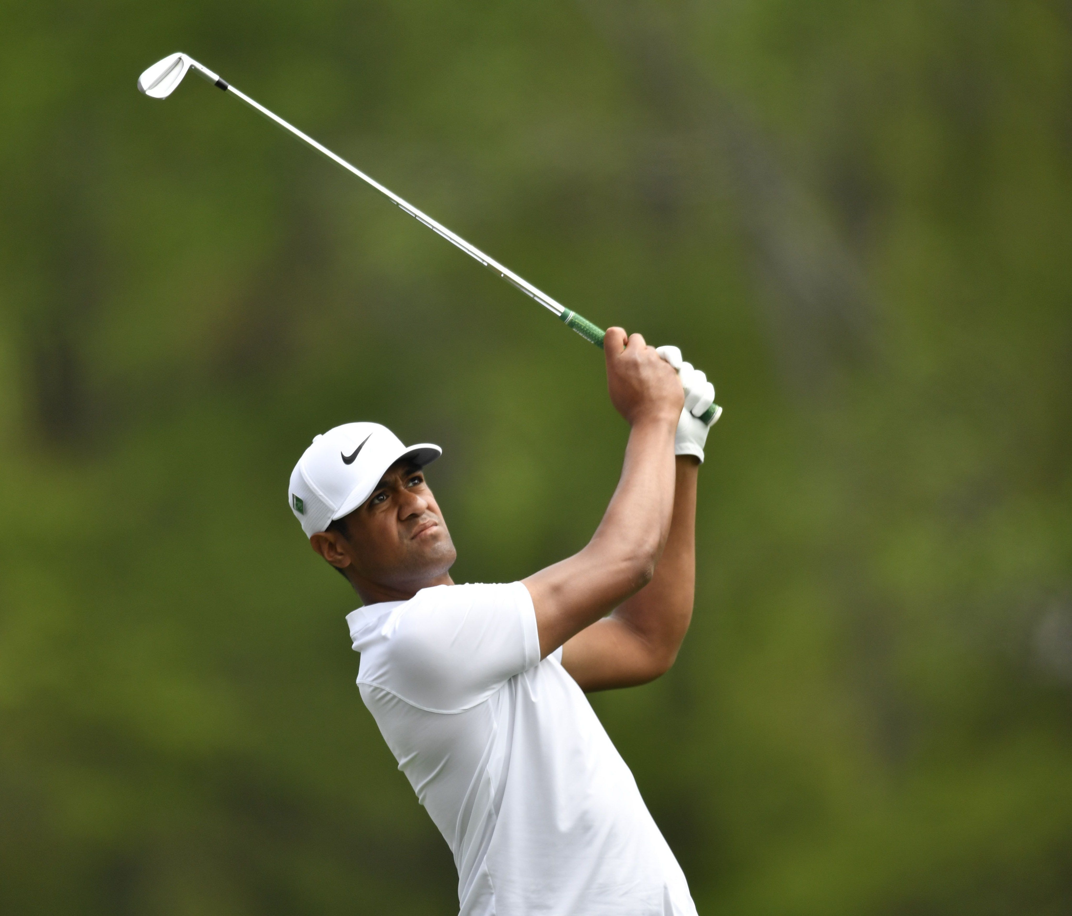 Tony Finau hits his tee shot on the 12th hole during the second round of the Masters at Augusta National Golf Club on April 6.