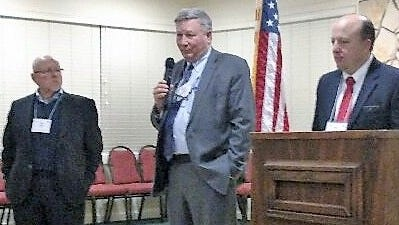 Speaking to the audience at the Republican Party of Lincoln County meeting were from left, State Sen. Bill Burt, State Rep. Greg Nibert and State Rep. Zach Cook.