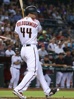 Diamondbacks Paul Goldschmidt (44) strikes out in the first inning against the Braves at Chase Field in Phoenix, Ariz. on July 24, 2017.