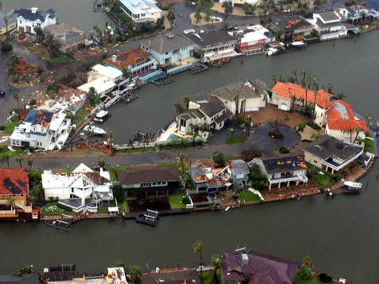 Aerial view of flooding in Corpus Christi, Texas, after Hurricane Harvey made landfall there.