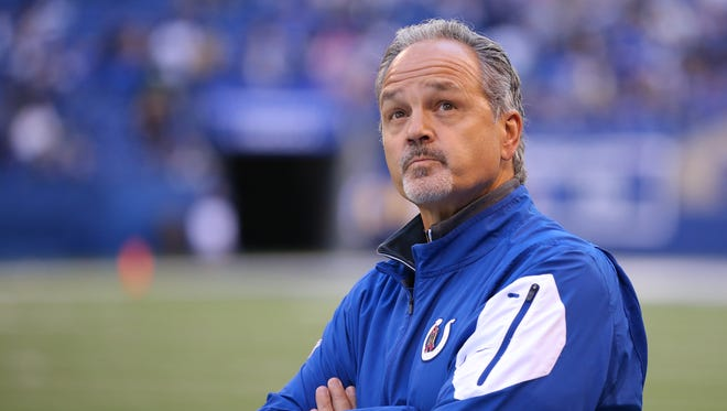 Indianapolis Colts head coach Chuck Pagano looks to the scoreboard late during the second half of an NFL football game Sunday, Oct. 25, 2015, at Lucas Oil Stadium. The Saints won 27-21.