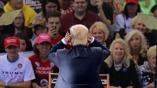 Republican presidential nominee Donald Trump holds a campaign rally at the J.S. Dorton Arena Nov. 7, 2016 in Raleigh, N.C.