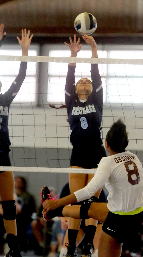 Westlake's Sydney Roell defends a shot by Ossining's