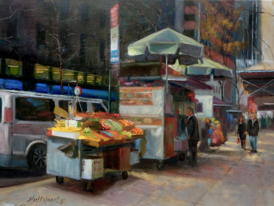 Hall Groat's oil painting of a food vendor in New York
