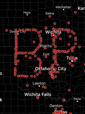 "This image provided by Spotter Network shows GPS coordinates of storm chasers on a map in Texas, Oklahoma, and Kansas, Sunday, Feb. 26, 2017. Nearly 200 storm chasers are paying tribute to the late actor Bill Paxton by spelling out his initials using GPS coordinates on a map depicting the heart of tornado country. The effort coordinated Sunday by Spotter Network spelled out ""BP"" to honor the leading man in the disaster movie ""Twister,"" which inspired a generation of storm chasers. (Spotter Network via AP)"