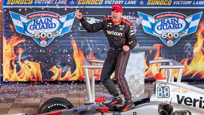 Verizon IndyCar Series driver Will Power (12) celebrates winning the Rainguard Water Sealers 600 at Texas Motor Speedway.