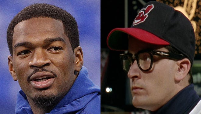 Indianapolis Colts quarterback Jacoby Brissett and Charlie Sheen playing Ricky 'Wild Thing' Vaughn in 'Major League'