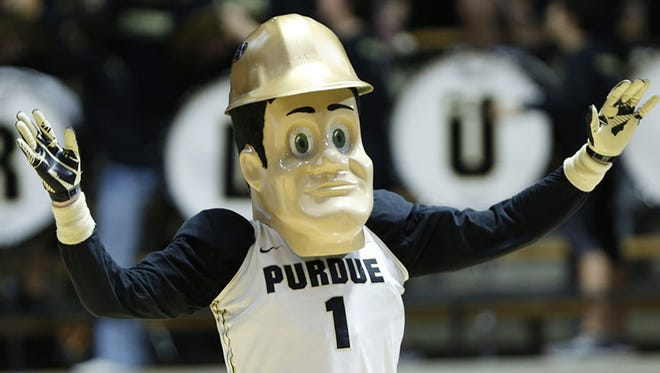 Purdue Pete entertains during a timeout.