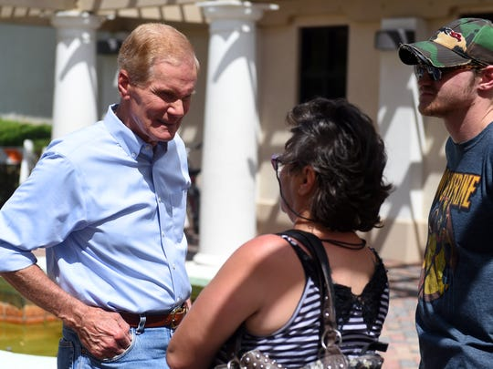 Sen. Bill Nelson speaks with Kimberley Clayton and