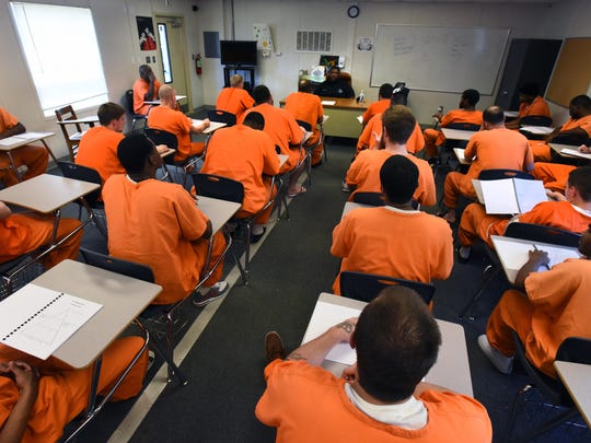 Inmates fill a classroom while participating in the Steve Hoyle Intensive Substance Abuse program.