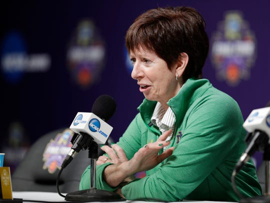 Notre Dame head coach Muffet McGraw responds to a question