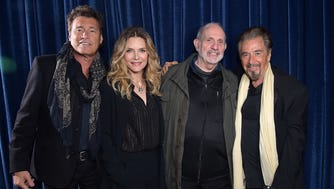 """From left: Steven Bauer, Michelle Pfeiffer, Brian De Palma and Al Pacino attend the """"Scarface"""" 35th anniversary panel at Tribeca Film Festival on April 19, 2018."""