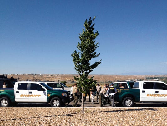 San Juan County Sheriff's Office deputies set up a command center Thursday at Northern Edge Navajo Casino in Upper Fruitland.
