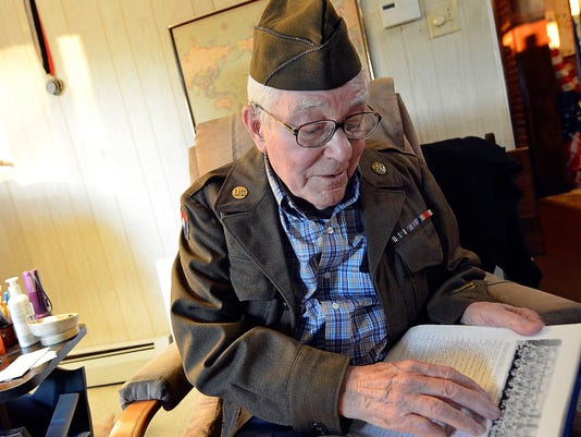 PFC Charles G. Petron, 92 of York Township, fought in WWII with the 90th Chemical Mortar Battalion in Belgium and Germany for nearly a year before being shipped home in preparation for an invasion into Japan. Petron will be taking part in a Victory Japan (VJ) Commemoration Friday August 14 at the Veterans Gold Star Healing & Peace Garden. John A. Pavoncello - jpavoncello@yorkdispatch.com