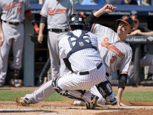 New York Yankees catcher John Ryan Murphy (66) tags out Baltimore's Ryan Flaherty, who was attempting to score on a single by Manny Machado during the second inning on Monday at Yankee Stadium.