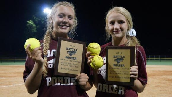 Owen softball players Natalie Stewart, left, and Jaiden Tweed play for the Carolina Vipers in the offseason.