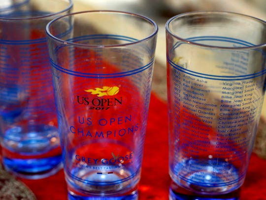 """Serena Williams sent Henry """"Dubie"""" Knox these U.S. Open souvenir glasses and other goodies."""