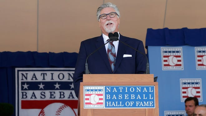Former Tigers pitcher Jack Morris gives his induction speech during the Baseball Hall of Fame induction ceremony Sunday in Cooperstown, New York.