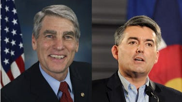 Mark Udall, at left, and Cory Gardner