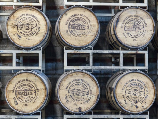 Whiskey barrels are stored at the Nelson's Green Brier
