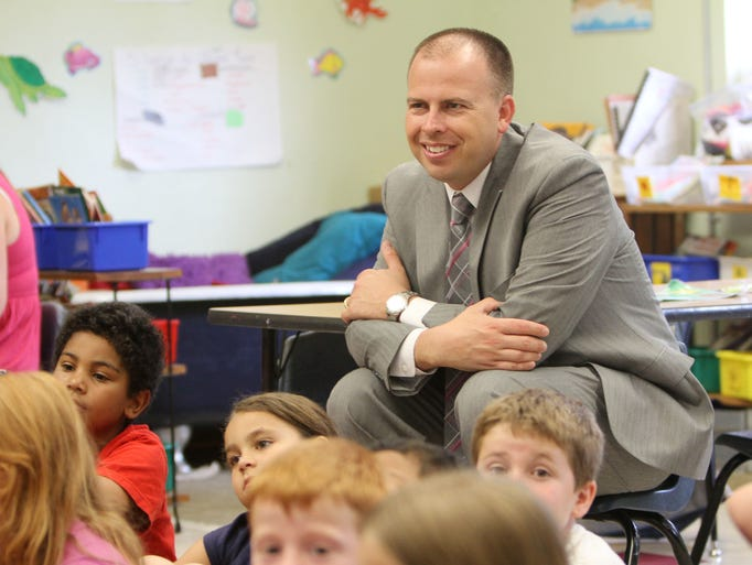 New superintendent John Jungmann observes a classroom at Bowerman Elementary on Wednesday, May 21, 2014.