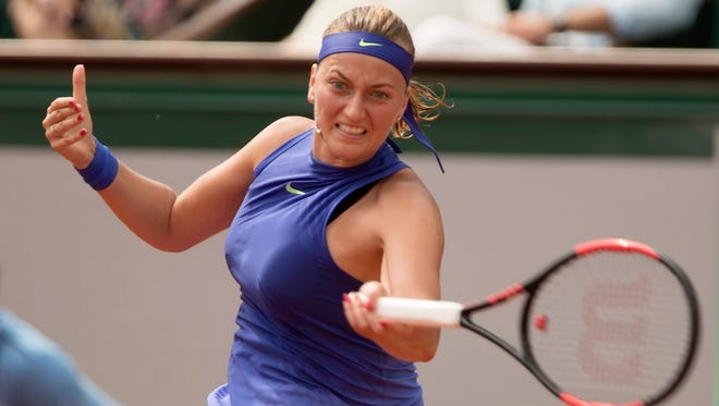 Petra Kvitova in action during her match against Julia Boserup on Day 1 of the 2017 French Open.