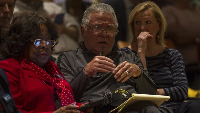 Members of the community voice there concerns during an education candidate forum held at the Tallahassee City Commission on Monday.