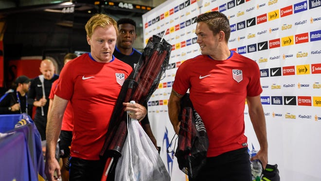 The US soccer players arrive at Nissan Stadium for practice in Nashville, Tenn., Friday, July 7, 2017. The US competes with  Panama in the CONCACAF Gold Cup on Saturday.