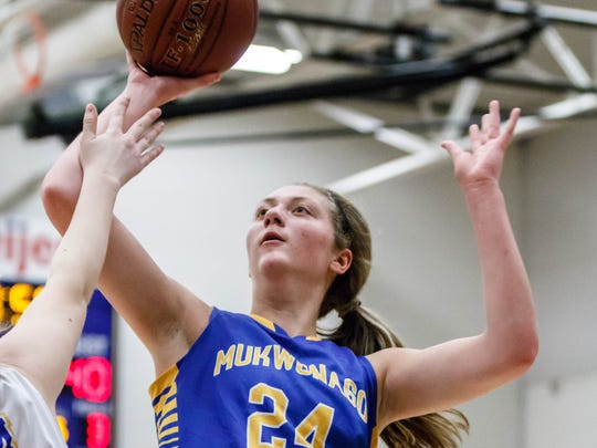 Mukwonago junior Natalie Andersen (24) drives in for a layup during the game at Catholic Memorial on Tuesday, Dec. 5, 2017.