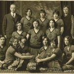 1928: The Ida Grove basketball team won the state girls' basketball tournament in 1928. From left to right, front row: Mae Aukerman, Sylvia Rohwer, Carolyn Miller, Virginia Aiken, Dorothy Anderson and Mary Koons; second row: May Iverson, Pauline Lahr, Sarah Alien White; back row: C.W. Sankey, coach; Marjory Anderson, Olive Little, Mary Page and Esther Saupe, chaperone.