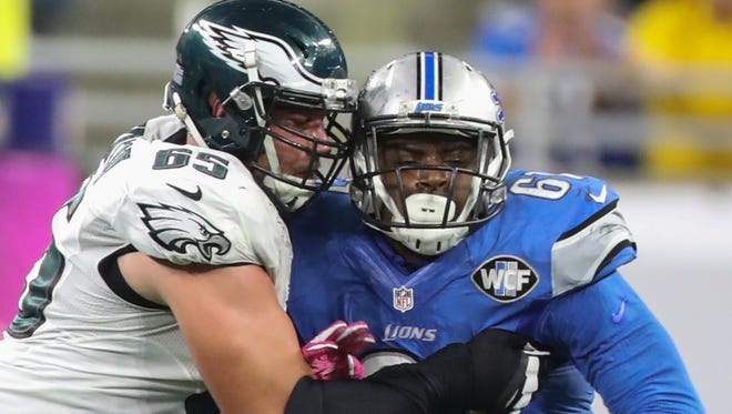 Lions defensive end Kerry Hyder rushes against the Philadelphia Eagles' Lane Johnson in the second half Sunday, Oct. 9, 2016 at Ford Field in Detroit.