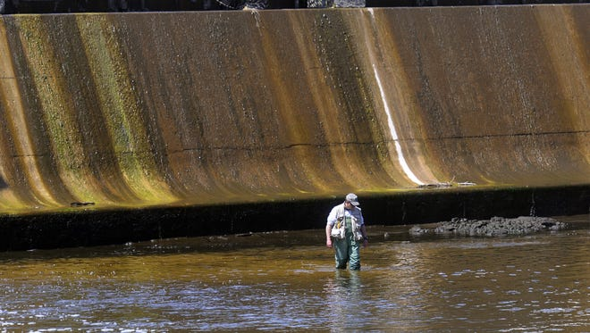 Fisherman James Jackson searches near the dam on the Grand River near the Erickson Power Station as officials lower the river on April 28.