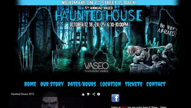 The wesbite advertising the haunted house at Vaseo Apartments.