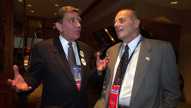 Then-Westchester County Executive Andrew Spano (left) and former County Executive Alfred DelBello at the New York state Democratic Convention in Manhattan on May 23, 2002