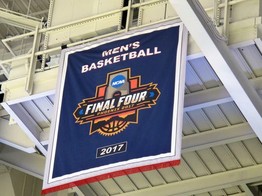 A new banner marking Gonzaga's first trip to the Final Four hangs from rafters in the McCarthey Athletic Center in Spokane.