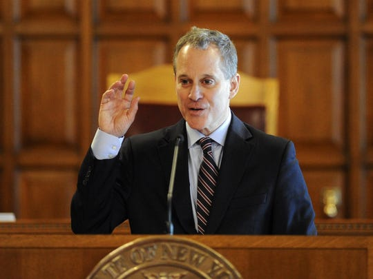 New York State Attorney Eric T. Schneiderman speaks during a Law Day event at the Court of Appeals on Tuesday, May 5, 2015, in Albany, N.Y. (AP Photo/Hans Pennink)