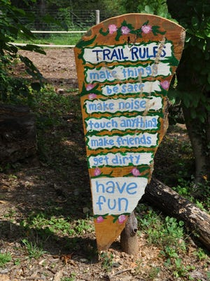 The trail head and other features of the natural playground at Boxerwood Gardens inspired Staunton Parks and Recreation Manager Claire Richardson to try a similar project for Montgomery Hall.