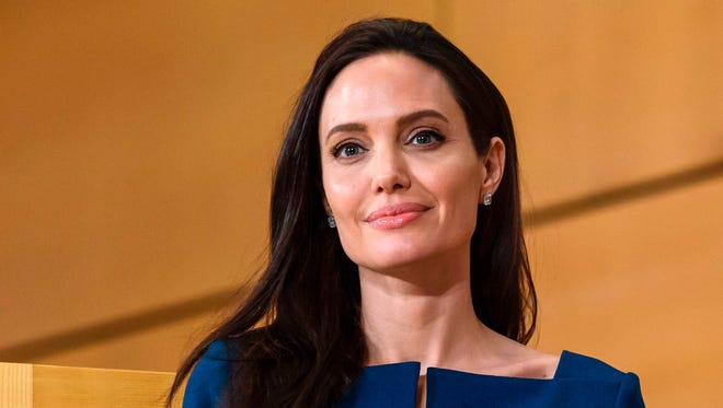 Angelina Jolie attending the annual lecture of the Sergio Vieira de Mello Foundation at the United Nations office in Geneva on March 15, 2017.