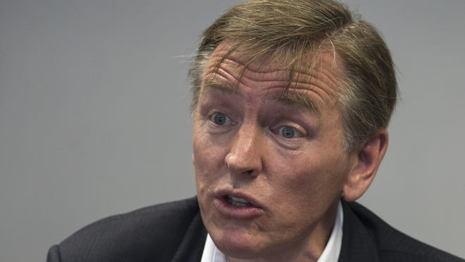 U.S. Rep. Paul Gosar answers questions Aug. 4, 2016, in the Editorial Board room at the Arizona Republic in Phoenix. In segments that Vice News shared to promote a story, Gosar appears to pushing the kinds of conspiracy theories touted in far-right outlets with dubious records for accuracy.