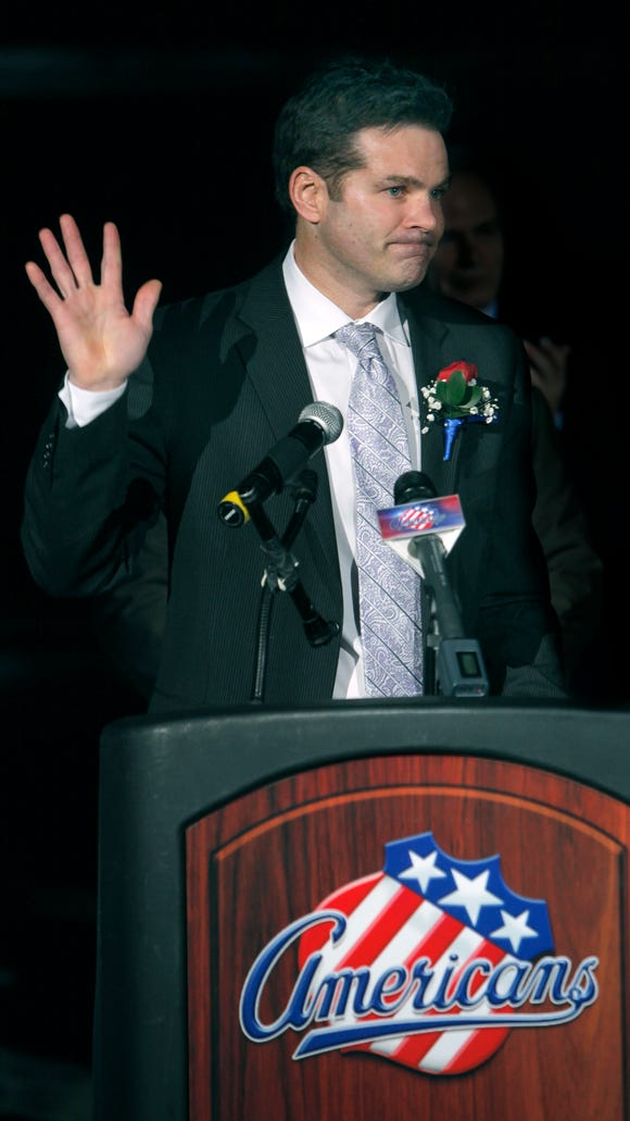 Chris Taylor who played for the Rochester Americans is inducted into the Hall of Fame at the Blue Cross Arena at the War Memorial in Rochester.